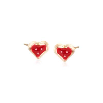 Child's Enamel Heart Stud Earrings in 14kt Yellow Gold, , default