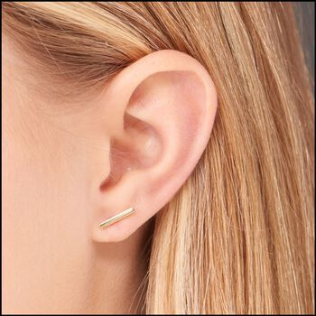 14kt Yellow Gold Bar Earrings, , default