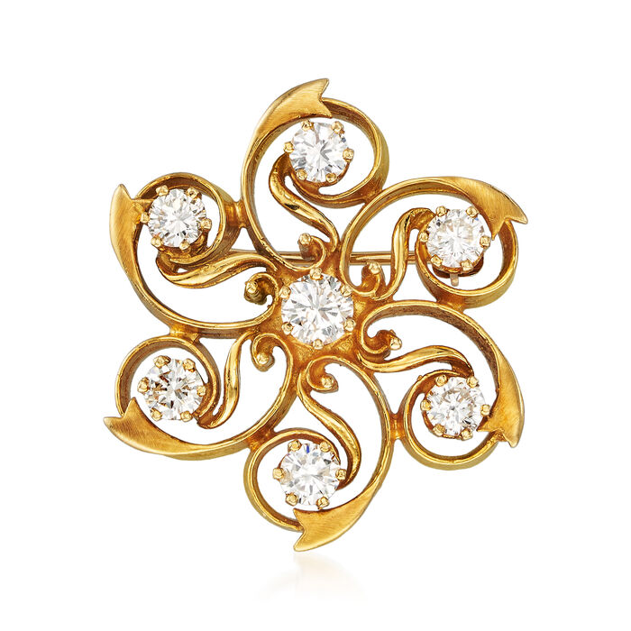 C. 1980 Vintage 1.45 ct. t.w. Diamond Flower Pin in 18kt Yellow Gold, , default