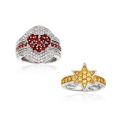 3.10 ct. t.w. Multi-Gemstone Jewelry Set: Interchangeable Ring Set in Sterling Silver