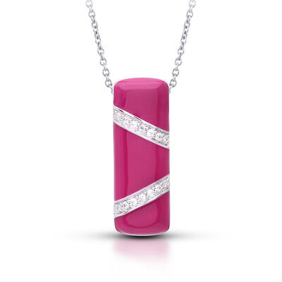 "Belle Etoile ""Glissando"" Red Enamel and .40 ct. t.w. CZ Pendant in Sterling Silver"