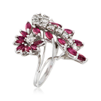 C. 1970 Vintage 2.20 ct. t.w. Ruby and 1.25 ct. t.w. Diamond Cluster Cocktail Ring in 14kt White Gold. Size 7, , default