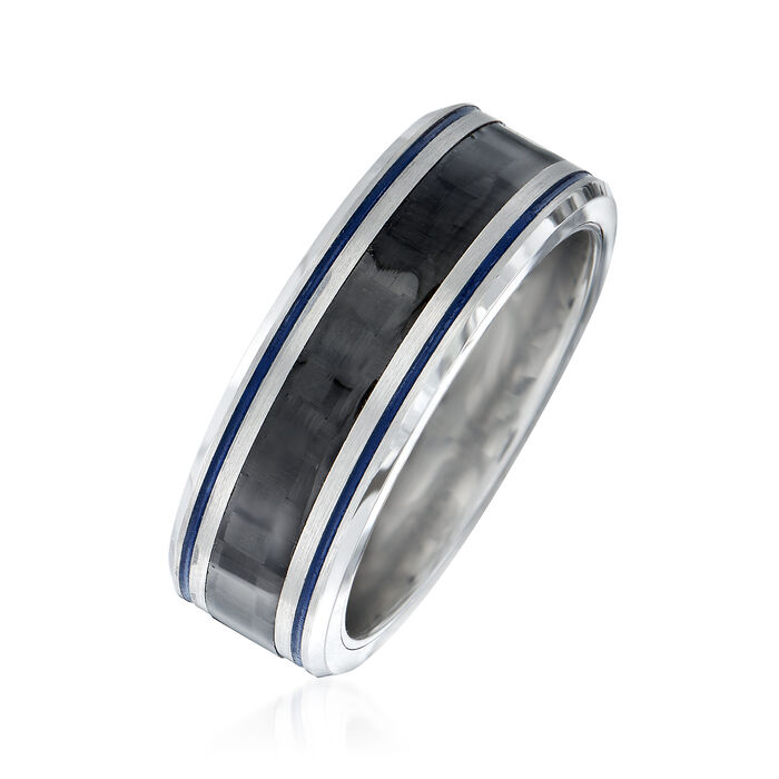 Men's 8mm Tungsten Carbide and Carbon Fiber Wedding Ring with Blue Stripes