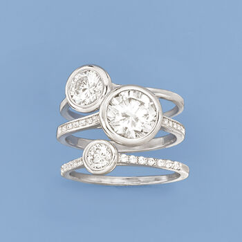 3.25 ct. t.w. CZ Jewelry Set: Three Stackable Bezel Rings in Sterling Silver, , default
