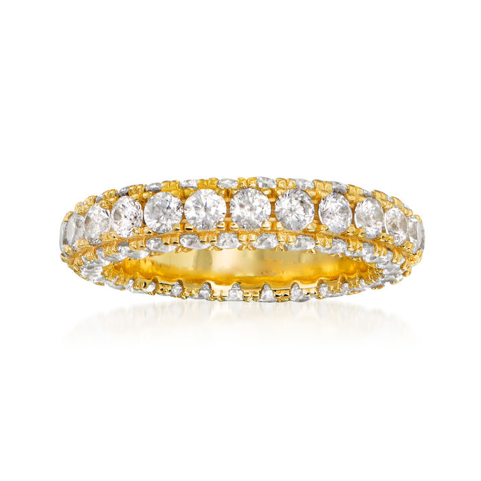 5.00 ct. t.w. CZ Eternity Band in 18kt Gold Over Sterling