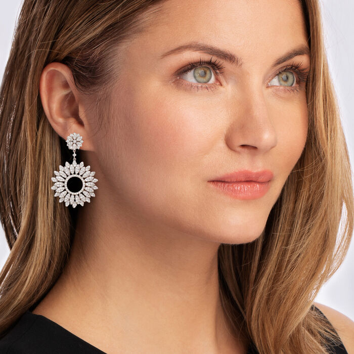 3.90 ct. t.w. Diamond Floral Drop Earrings in 18kt White Gold