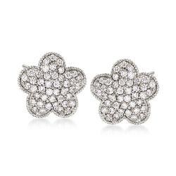 .79 ct. t.w. Diamond Flower Stud Earrings in 14kt White Gold, , default