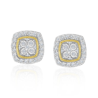 .18 ct. t.w. Diamond Square Cluster Earrings in 14kt Yellow Gold