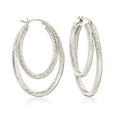 Sterling Silver Rope-Textured Double Hoop Earrings, , default