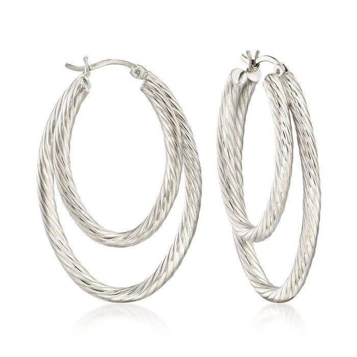 """Sterling Silver Rope-Textured Double Hoop Earrings. 1 5/8"""", , default"""