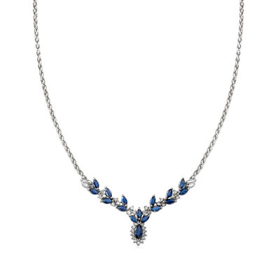 C. 1990 Vintage 2.75 ct. t.w. Sapphire and .40 ct. t.w. Diamond Leaf Necklace in 14kt White Gold, , default