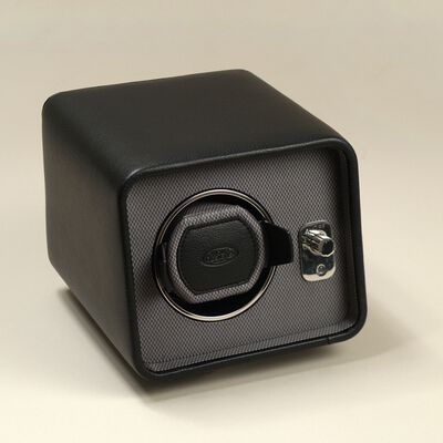 """""""Windsor"""" Black Faux Leather Single Watch Winder by Wolf Designs, , default"""