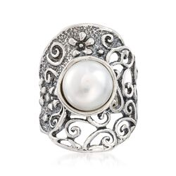 9.5-10mm Cultured Pearl Openwork Floral Vine Ring in Sterling Silver, , default