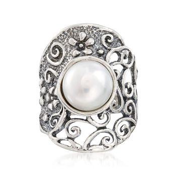 9.5-10mm Cultured Pearl Openwork Floral Vine Ring in Sterling Silver, , default