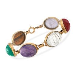 "C. 1950 Vintage Multi-Stone Scarab Bracelet in 14kt Yellow Gold. 7"", , default"
