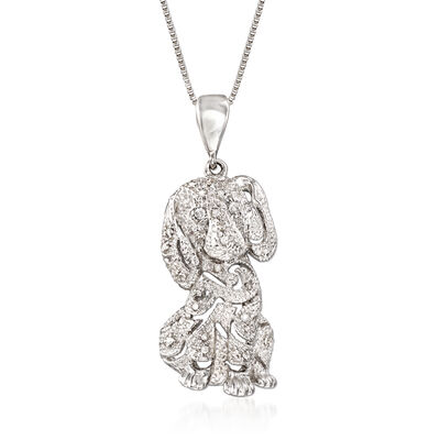 .10 ct. t.w. Diamond Dog Pendant Necklace in Sterling Silver, , default