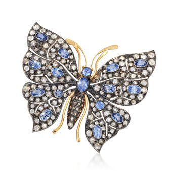 C. 1940 Vintage 4.30 ct. t.w. Diamond and 4.00 ct. t.w. Sapphire Butterfly Pin in Sterling Silver , , default