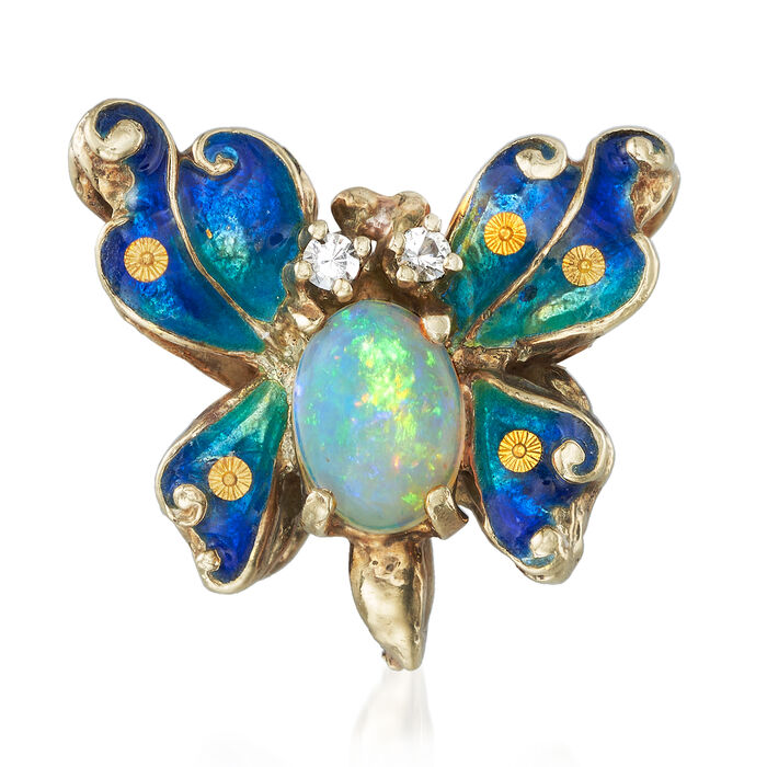 C. 1970 Vintage Opal and CZ-Accented Enamel Butterfly Pendant in 14kt Yellow Gold