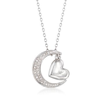 .10 ct. t.w. Diamond Heart and Moon Necklace in Sterling Silver, , default