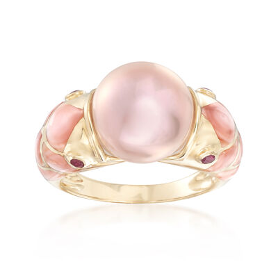 11.5mm Cultured Pearl and Pink Mother-Of-Pearl Fish Ring with .20 ct. t.w. Rubies in 14kt Gold, , default
