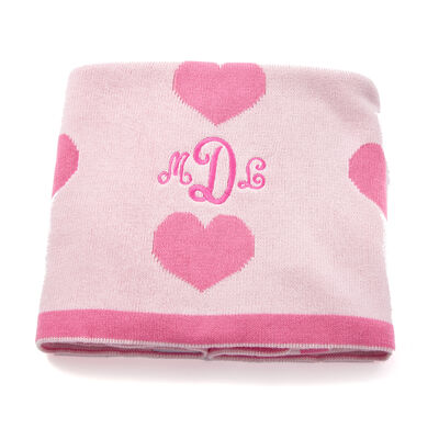Reversible Personalized Pink Heart Baby Blanket, , default