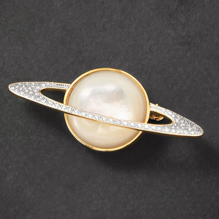20mm Mother-Of-Pearl and .20 ct. t.w. Diamond Planet Pin in 18kt Yellow Gold Over Sterling Silver