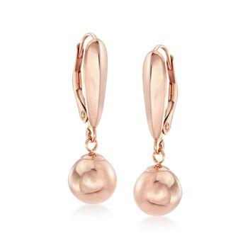 8mm 14kt Rose Gold Bead Drop Earrings, , default