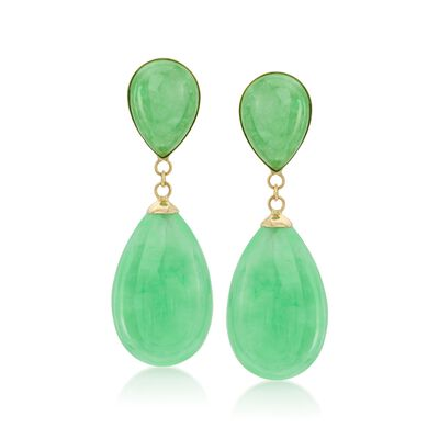 Green Jade Teardrop Earrings in 14kt Yellow Gold