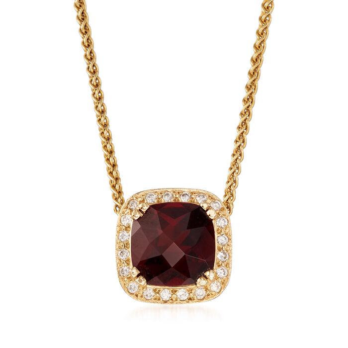 "C. 1990 Vintage 6.00 Carat Garnet and .40 ct. t.w. Diamond Pendant Necklace in 18kt Yellow Gold. 20"", , default"