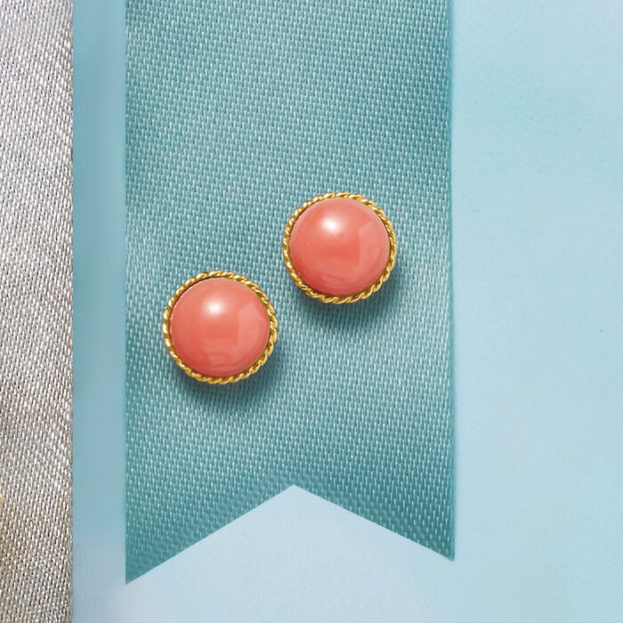 Coral Stud Earrings in 14kt Yellow Gold