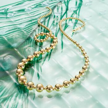 """Italian 2.6-9mm 18kt Yellow Gold Bead Necklace. 20"""""""
