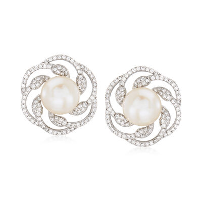 10-10.5mm Cultured Pearl and 1.10 ct. t.w. CZ Swirl Earrings in Sterling Silver, , default