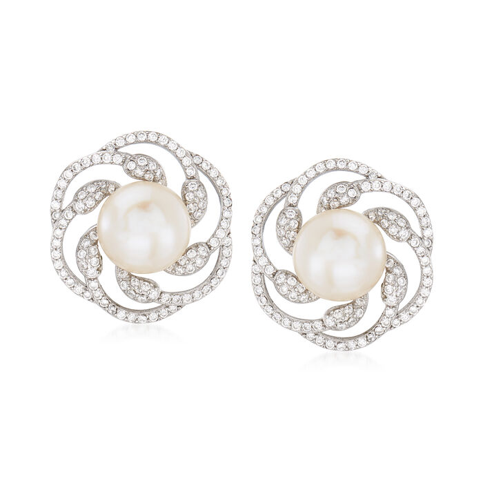 10-10.5mm Cultured Pearl and 1.10 ct. t.w. CZ Swirl Earrings in Sterling Silver