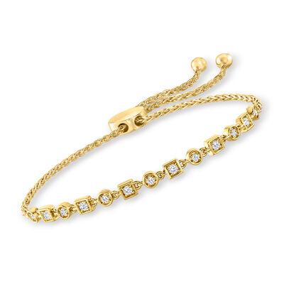 .25 ct. t.w. Diamond Geometric Bolo Bracelet in 18kt Gold Over Sterling