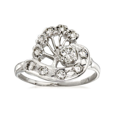 C. 1950 Vintage .60 ct. t.w. Diamond Swirl Cocktail Ring in 14kt White Gold, , default