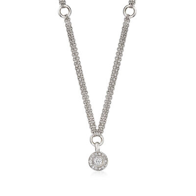 C. 1990 Vintage .50 ct. t.w. Diamond Triple-Strand Necklace in 14kt White Gold