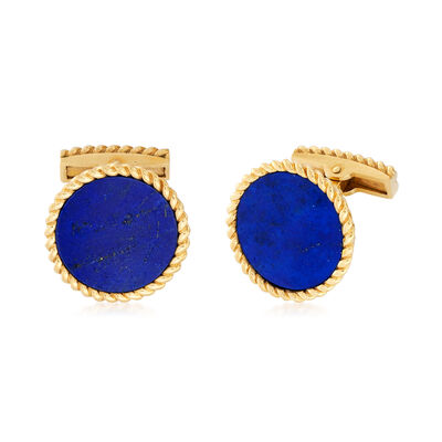 C. 1980 Vintage Round Lapis Cuff Links in 14kt Yellow Gold, , default