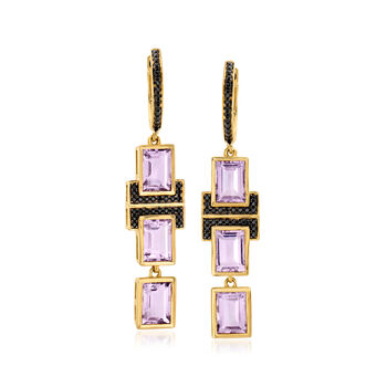 5.00 ct. t.w. Amethyst and .20 ct. t.w. Black Spinel Drop Earrings in 18kt Gold Over Sterling