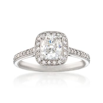 1.42 ct. t.w. Certified Diamond Halo Engagement Ring in Platinum, , default