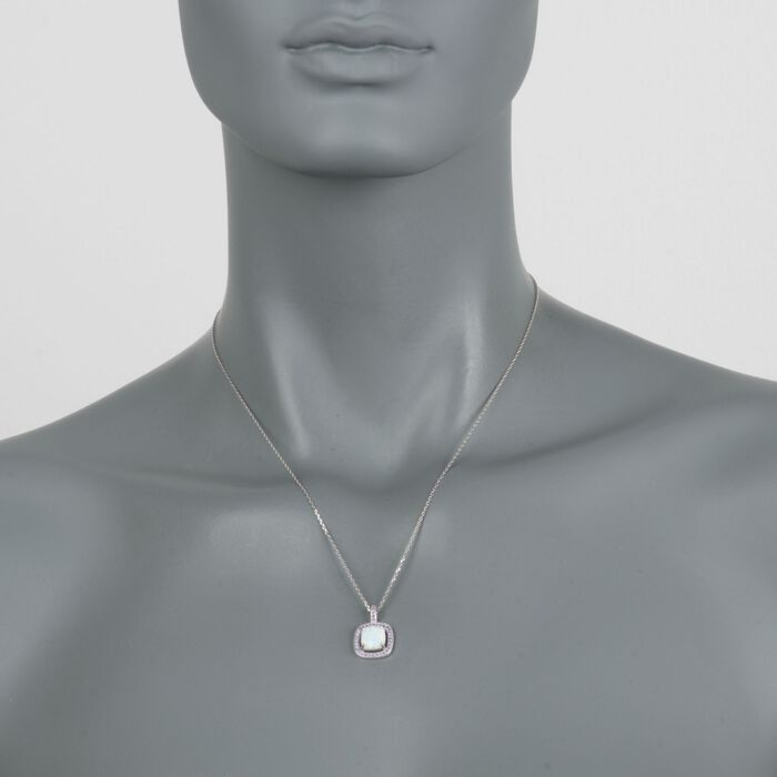 """Simulated Opal and Simulated Amethyst Square Pendant Necklace in Sterling Silver. 18"""""""