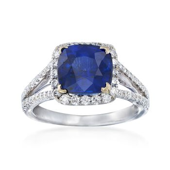 C. 2000 Vintage 3.57 Carat Sapphire and .67 ct. t.w. Diamond Ring in 18kt White Gold. Size 6.5, , default