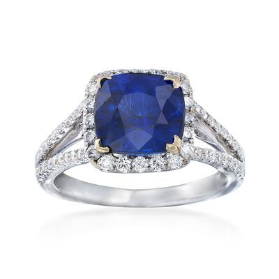 C. 2000 Vintage 3.57 Carat Sapphire and .67 ct. t.w. Diamond Ring in 18kt White Gold, , default