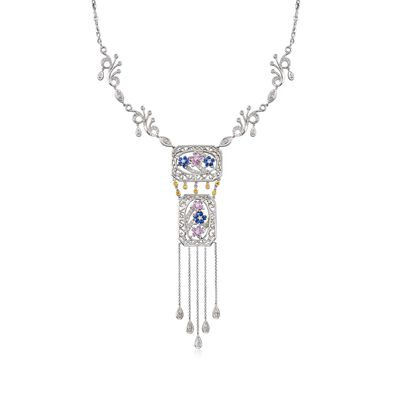 C. 2000 Vintage 2.57 ct. t.w. Multi-Stone Drop Necklace in 18kt White Gold, , default