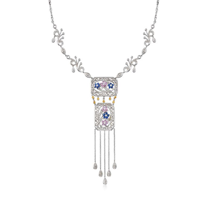 "C. 2000 Vintage 2.57 ct. t.w. Multi-Stone Drop Necklace in 18kt White Gold. 16.75"", , default"