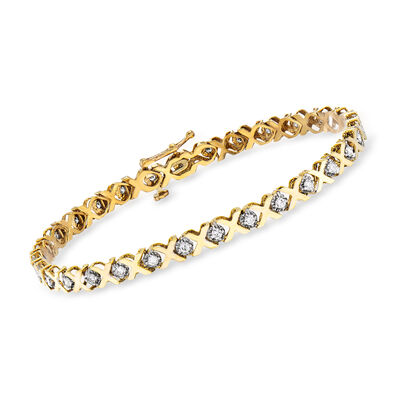 1.00 ct. t.w. Diamond XO Bracelet in 14kt Yellow Gold, , default