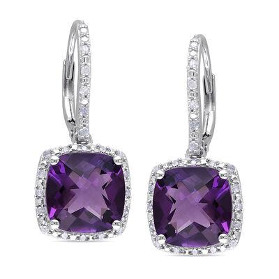 6.00 ct. t.w. Amethyst and .18 ct. t.w. Diamond Drop Earrings in Sterling Silver