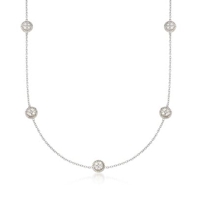1.00 ct. t.w. Diamond Cluster Circle Station Necklace in 14kt White Gold, , default