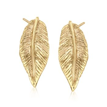 14kt Yellow Gold Over Sterling Silver Leaf Earrings, , default