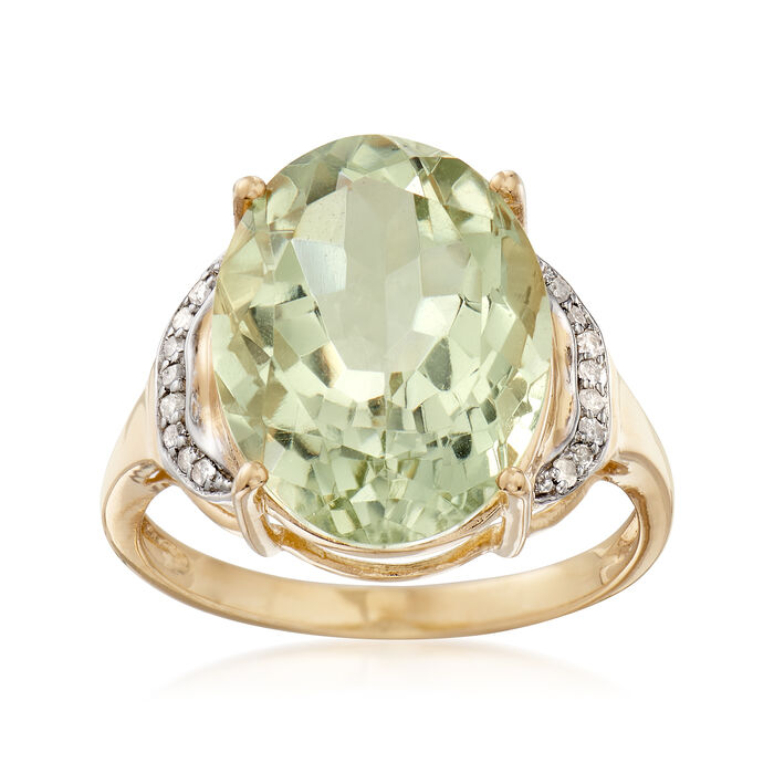 8.50 Carat Green Prasiolite Ring with Diamond Accents in 14kt Gold Over Sterling