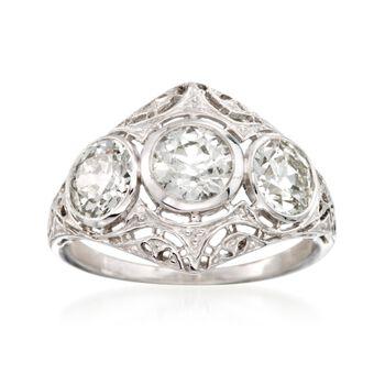 C. 1950 2.20 ct. t.w. 3-Stone Diamond Ring in Platinum. Size 7.25, , default